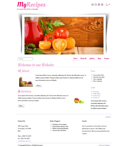myrecipes - responsive website template built with TOWeb, the responsive website creation software