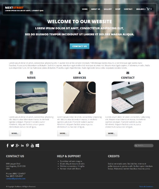 nextstreet - responsive website template built with TOWeb, the responsive website creation software