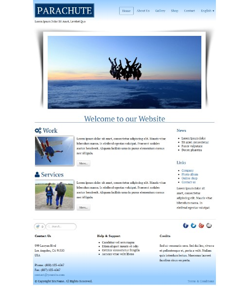 parachute - responsive website template built with TOWeb, the responsive website creation software