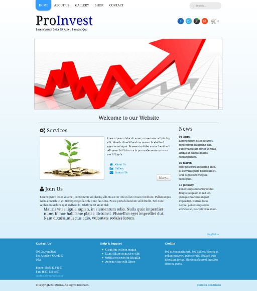proinvest - responsive website template built with TOWeb, the responsive website creation software