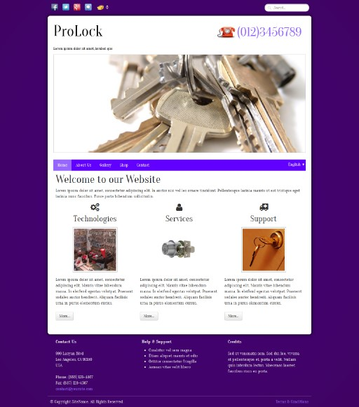 prolock - responsive website template built with TOWeb, the responsive website creation software