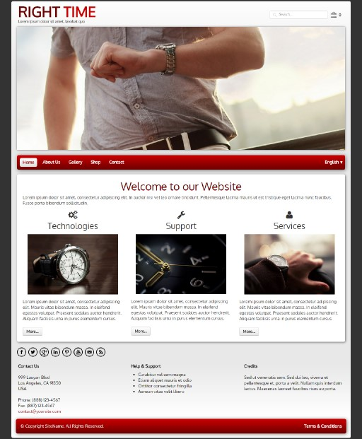 righttime - responsive website template built with TOWeb, the responsive website creation software