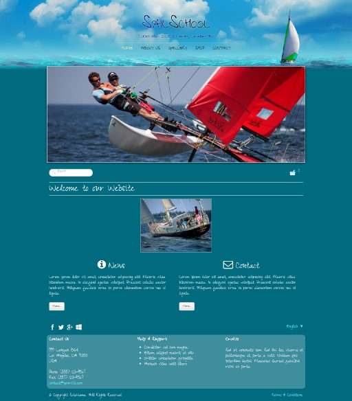 sailschool - responsive website template built with TOWeb, the responsive website creation software
