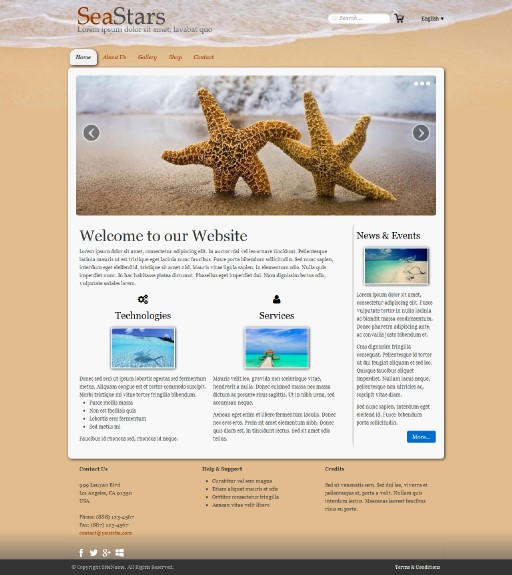 seastars - responsive website template built with TOWeb, the responsive website creation software
