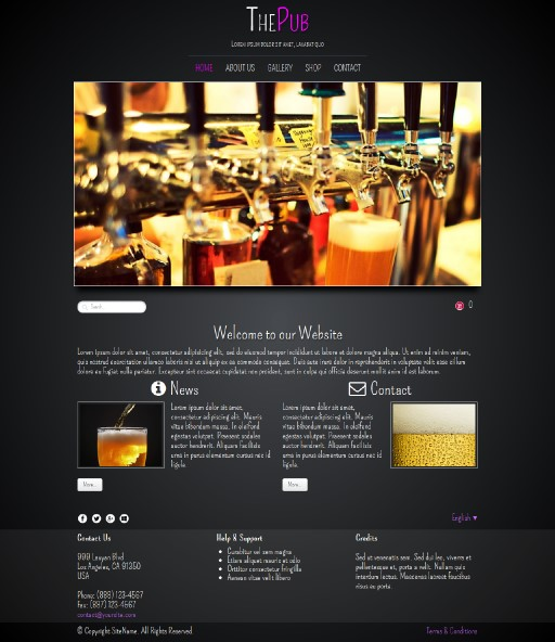 thepub - responsive website template built with TOWeb, the responsive website creation software