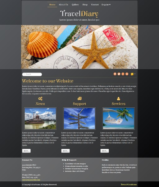 traveldiary - responsive website template built with TOWeb, the responsive website creation software