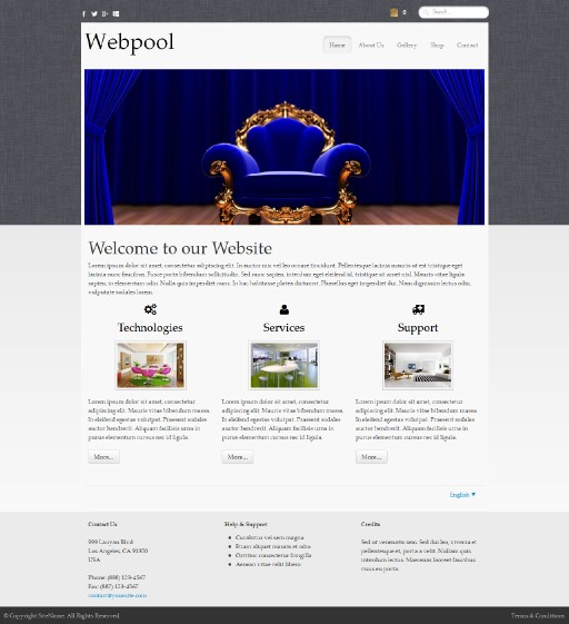 webpool - responsive website template built with TOWeb, the responsive website creation software