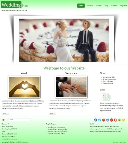 weddingplan - responsive website template built with TOWeb, the responsive website creation software