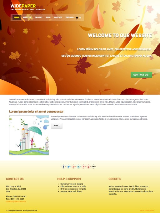 widepaper - responsive website template built with TOWeb, the responsive website creation software