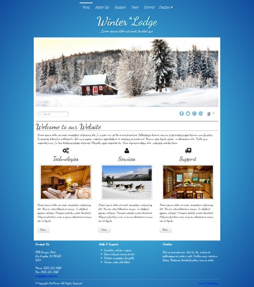 winterlodge - responsive website template built with TOWeb, the responsive website creation software