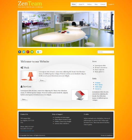 zenteam - responsive website template built with TOWeb, the responsive website creation software